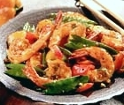 shrimp and snowpeas