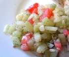 Indian chaat--cucumber and potato salad