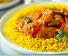indian biryani--seasoned rice and fish